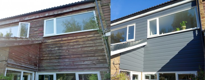 Replaced Worn Out Timber Cladding With Fortex Pro In Slate Grey.